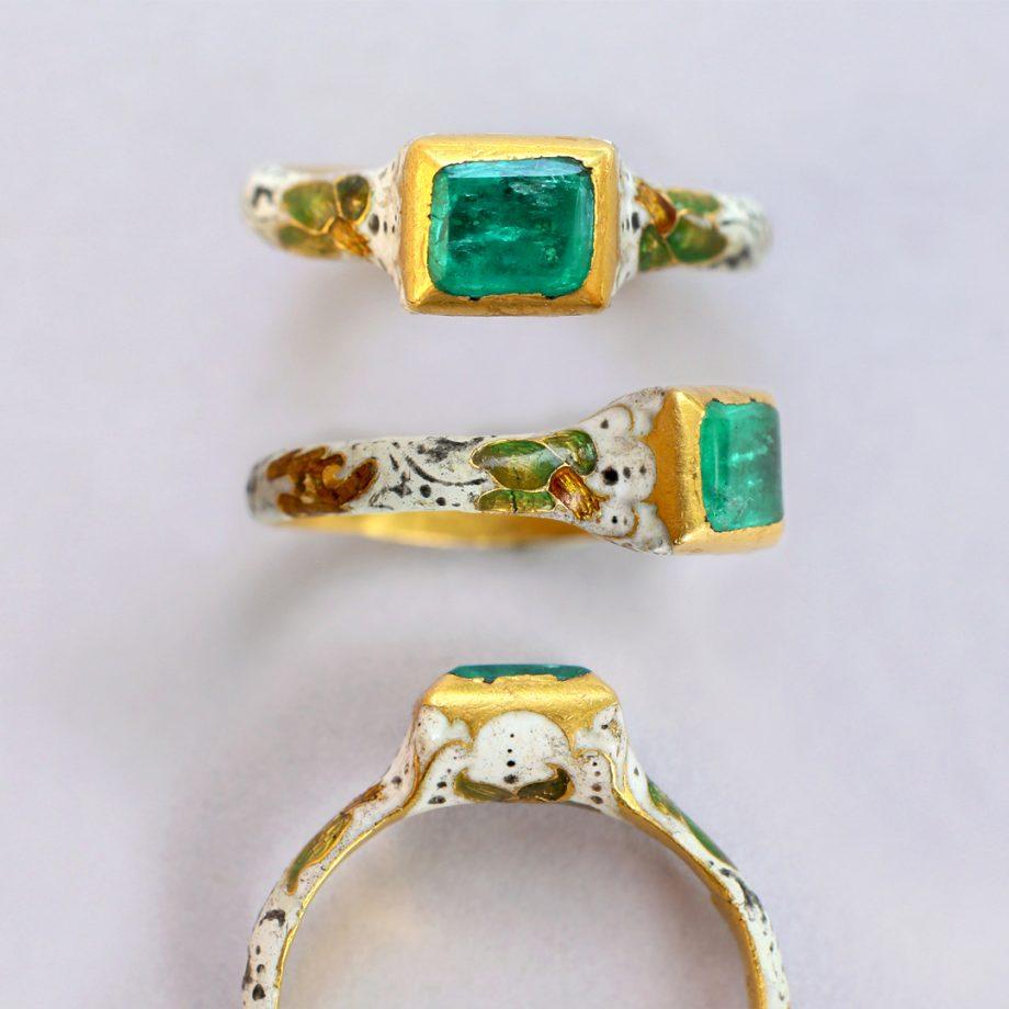 17th century enameled emerald ring