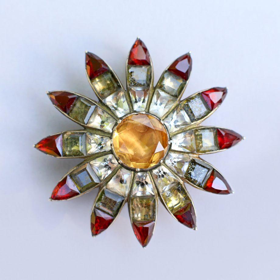 Antique Portuguese Topaz Flower Pendant