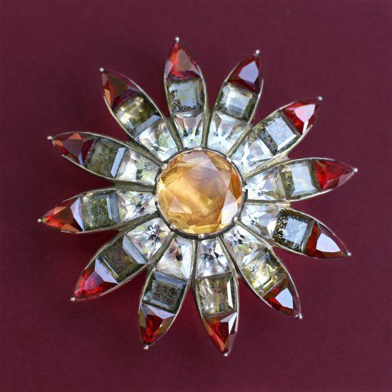 18th century Portuguese Topaz Flowerhead Pendant