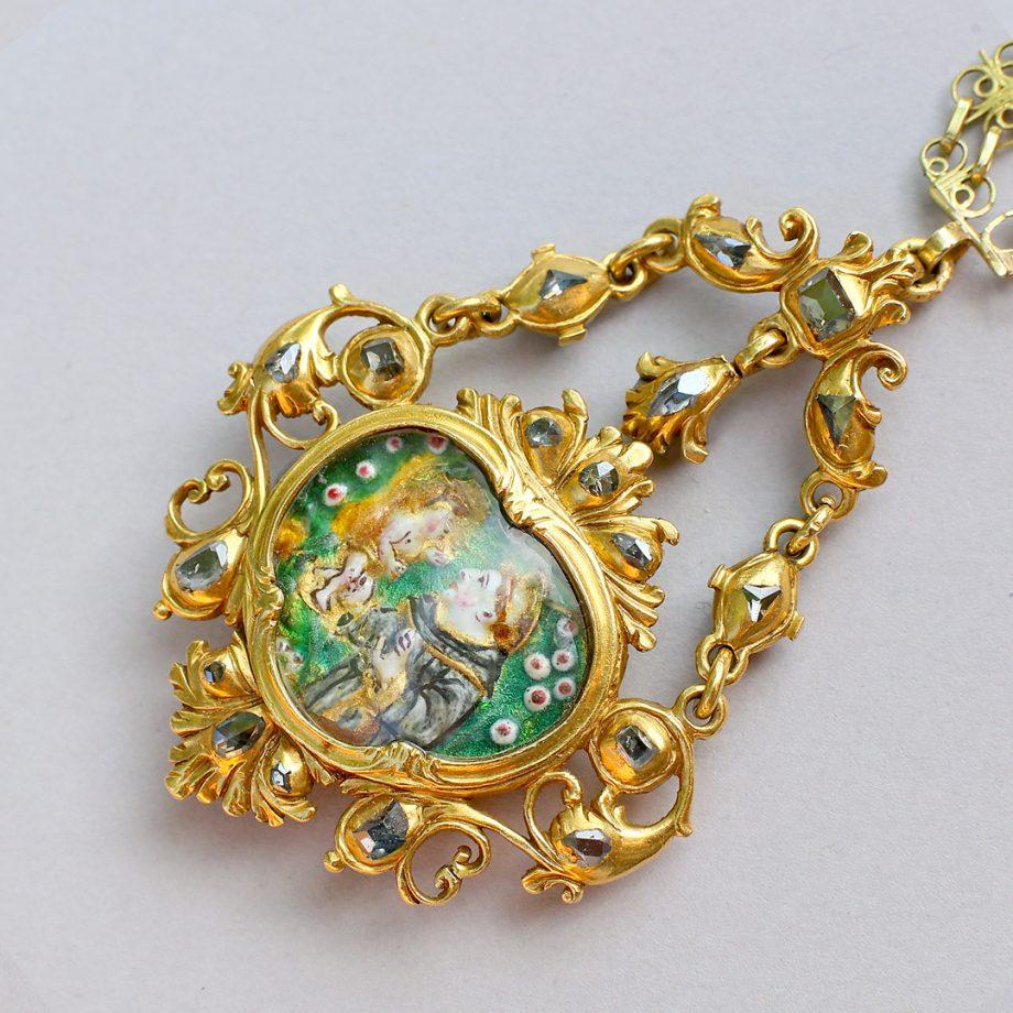 1700 Spanish Table Cut DIamond & Gold Pendant