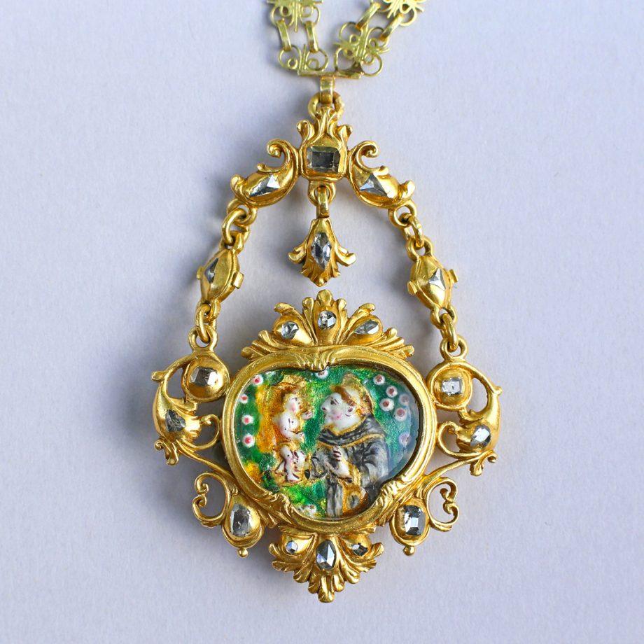 c.1700 Baroque Spanish Devotional Pendant with Table Cut Diamonds and Enamel