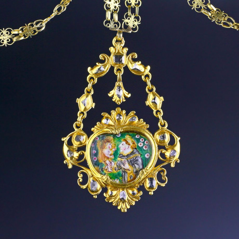 Spanish Devotional Pendant Gold Diamonds Enamel