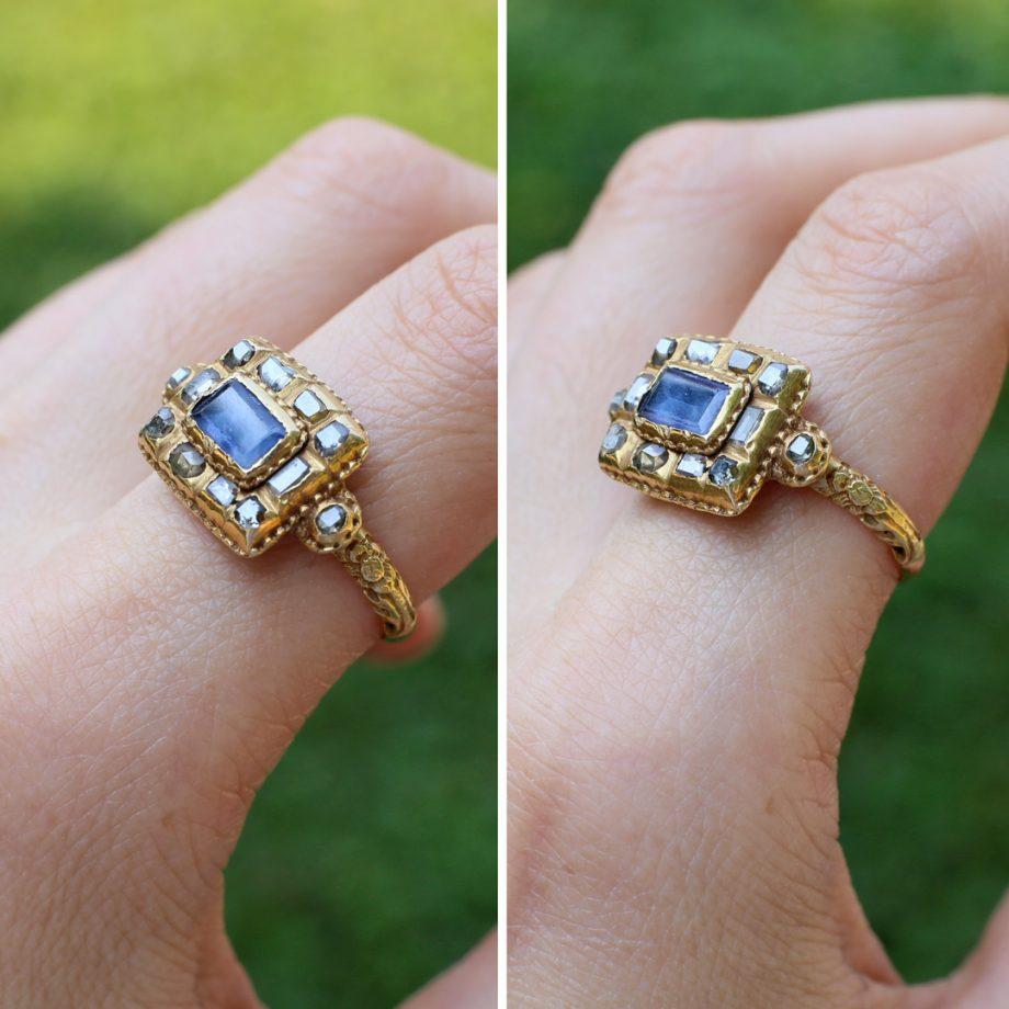 17th century sapphire table cut diamond cluster ring