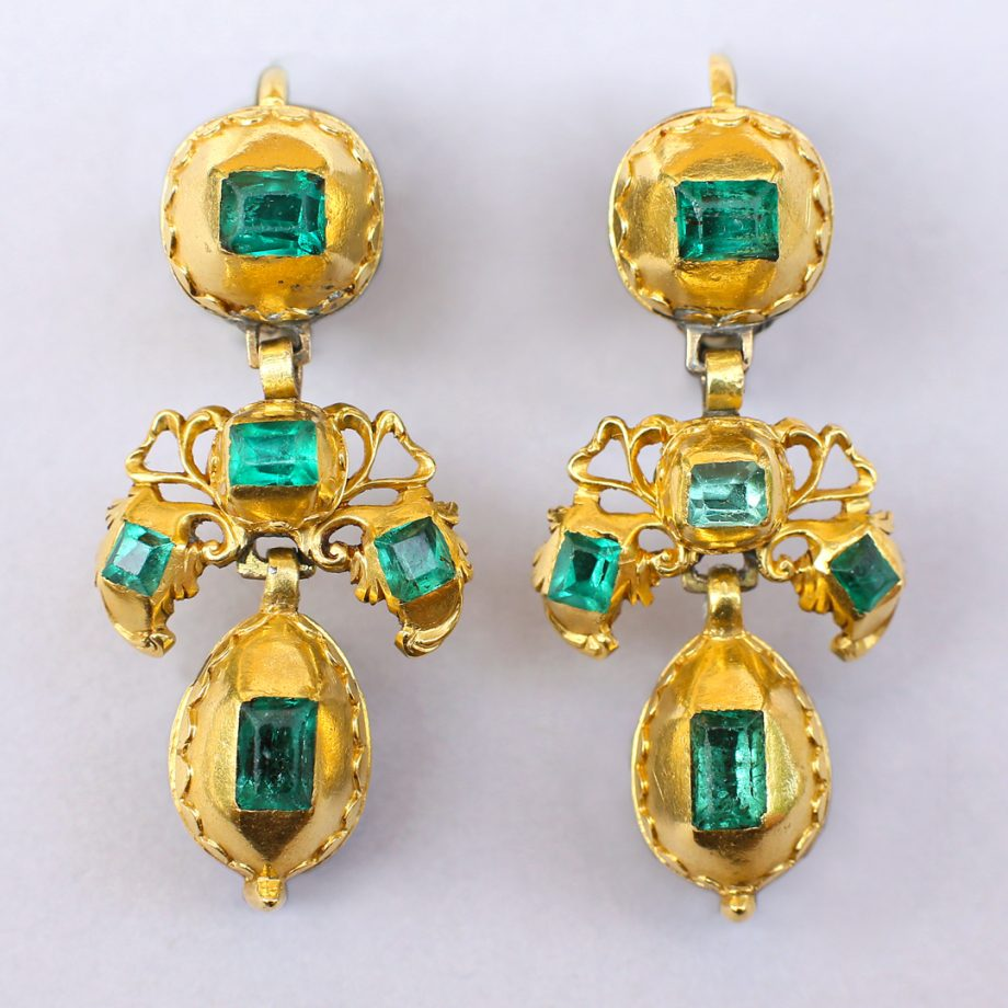 18th c Spanish Emerald Pendeloque Earrings
